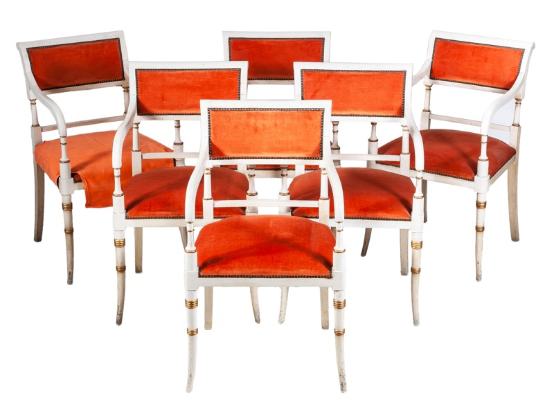 A set of twelve orange velvet upholstered white painted armchairs in Regency style, 1960s