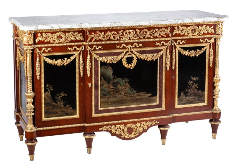 An ormolu-mounted, Japanese lacquer and mahogany commode in Louis XVI, after the model by Martin Carlin c.1900