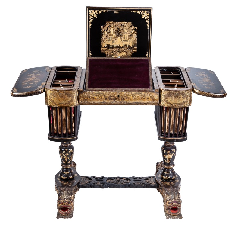 A Chinese gilded and black lacquer sewing table - desk , Canton mid 19th Century