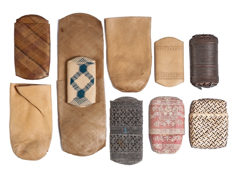 A set of nine plant tissue cases, Philippine work of the 19th Century  