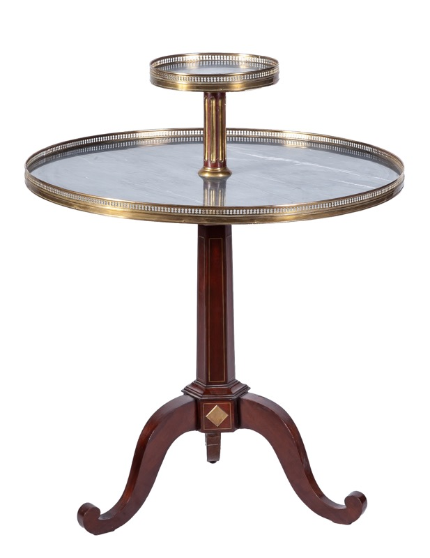 A French grey marble-topped, brass-inlaid mahogany centre table, 19th Century