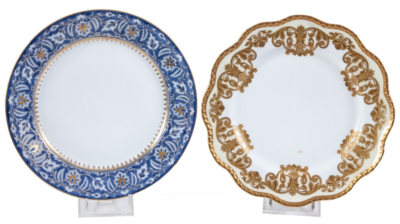 Two French glazed porcelain plates, Limoges Havilland and Sévres
