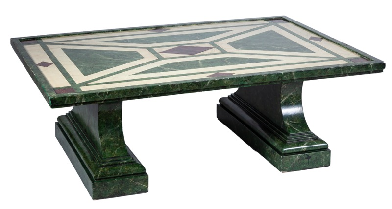A rectangular low table polychromed simulating marble
