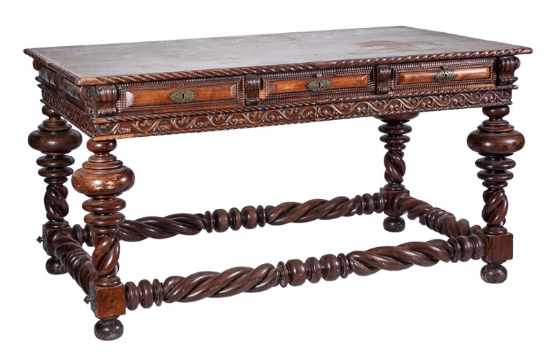 "A Portuguese exotic wood, possibly ""vinhatico"" centre table with ring and spiral turned legs, late 19th Century
