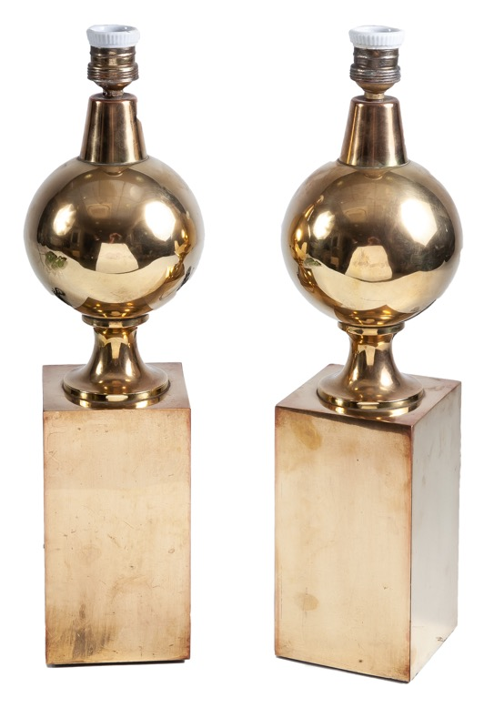 A pair of brass table lamps, 1970s