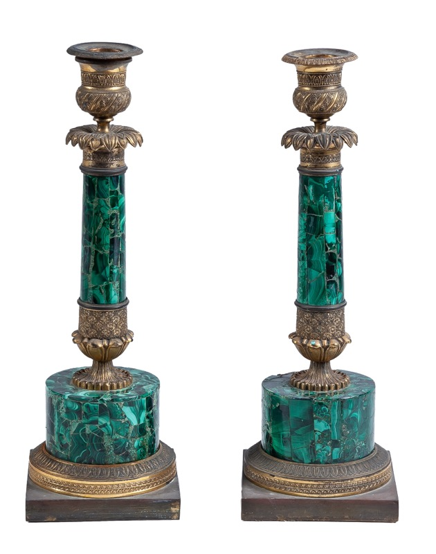 A French Empire malachite and gilt-bronze candlesticks, Early 19th Century