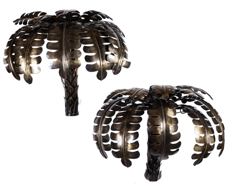 A pair of metal palm tree wall lamps following models of Maison Jansen 