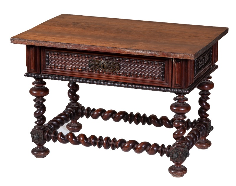 A small carved rosewood table with turned legs, Portugal 19th Century