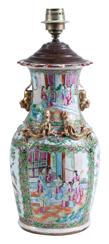 "A Chinese ""Famille rose"" vase converted in table lamp, Canton 19th Century
