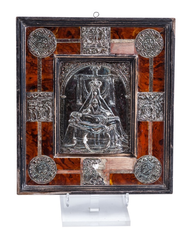 "An embossed silver devotional plaque of ""Pietà"" with mahogany frame, 19th Century