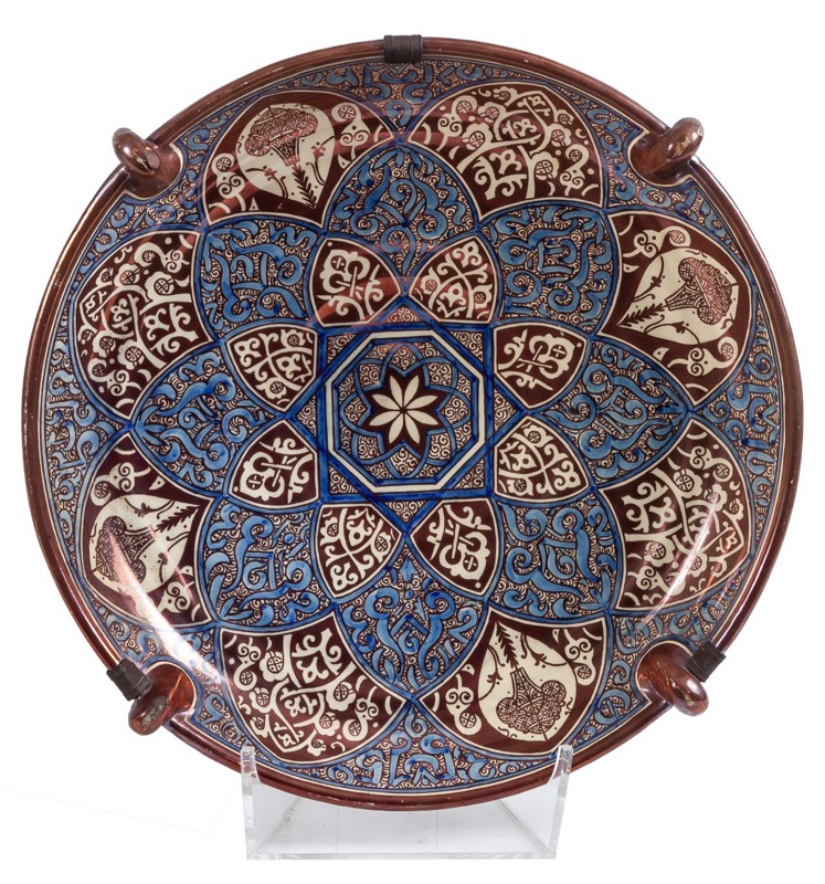 A large Hispano-Moresque Manises glazed earthenware dish, Late 19th Century