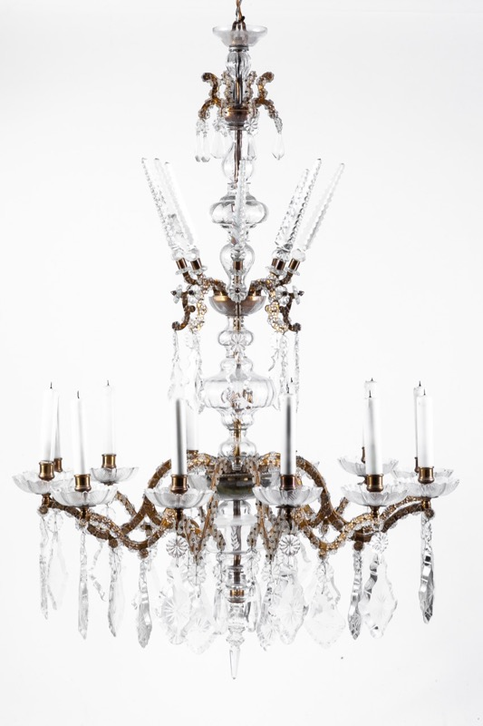 A glass and bronze twelve-light ceiling lamp