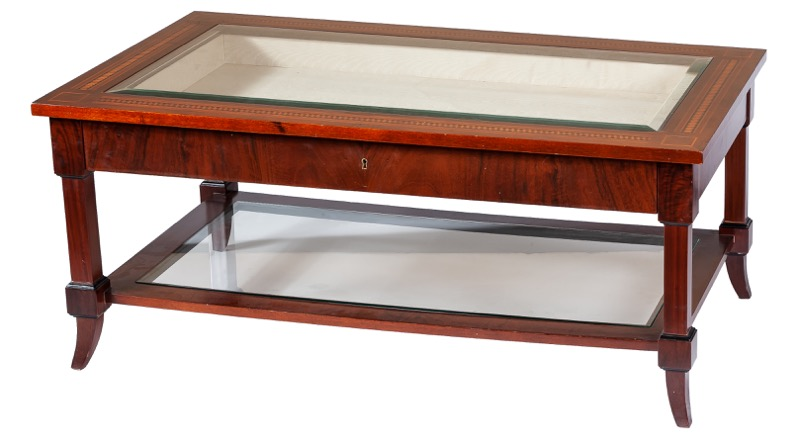 A marquetry mahogany display table