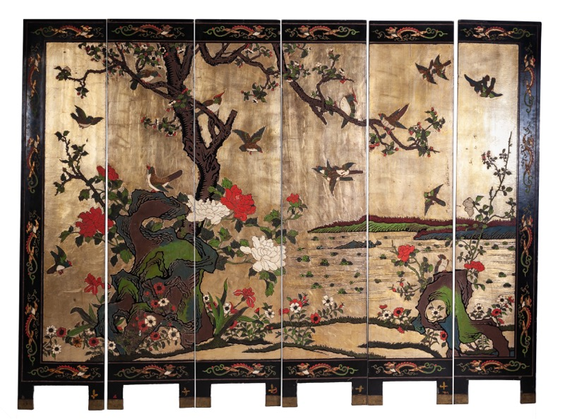 A Chinese gilded and polychrome-decorated Coromandel lacquer six-panel screen, Early 20th Century