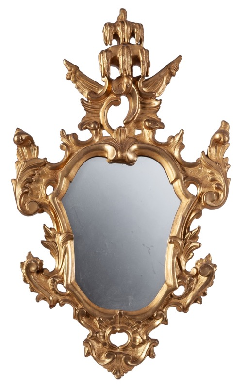 A carved giltwood mirror, 18th Century