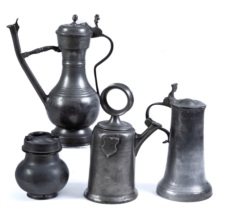 A set of four German pewter pieces, 18th - 19th Century. Marks