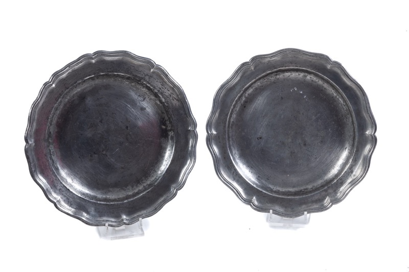 Two French pewter dishes, 18th Century