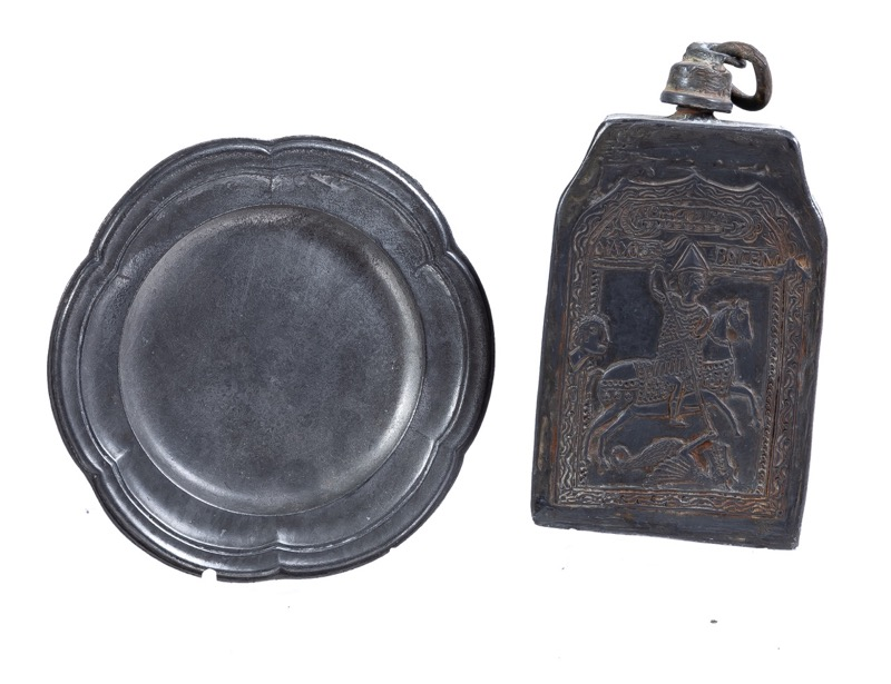 A pewter dish and canteen, 18th century