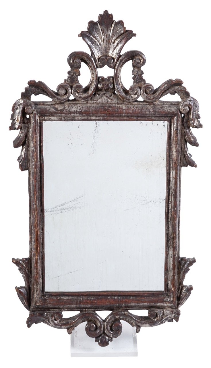 A carved and silver-plated wooden mirror, Late 18th Century