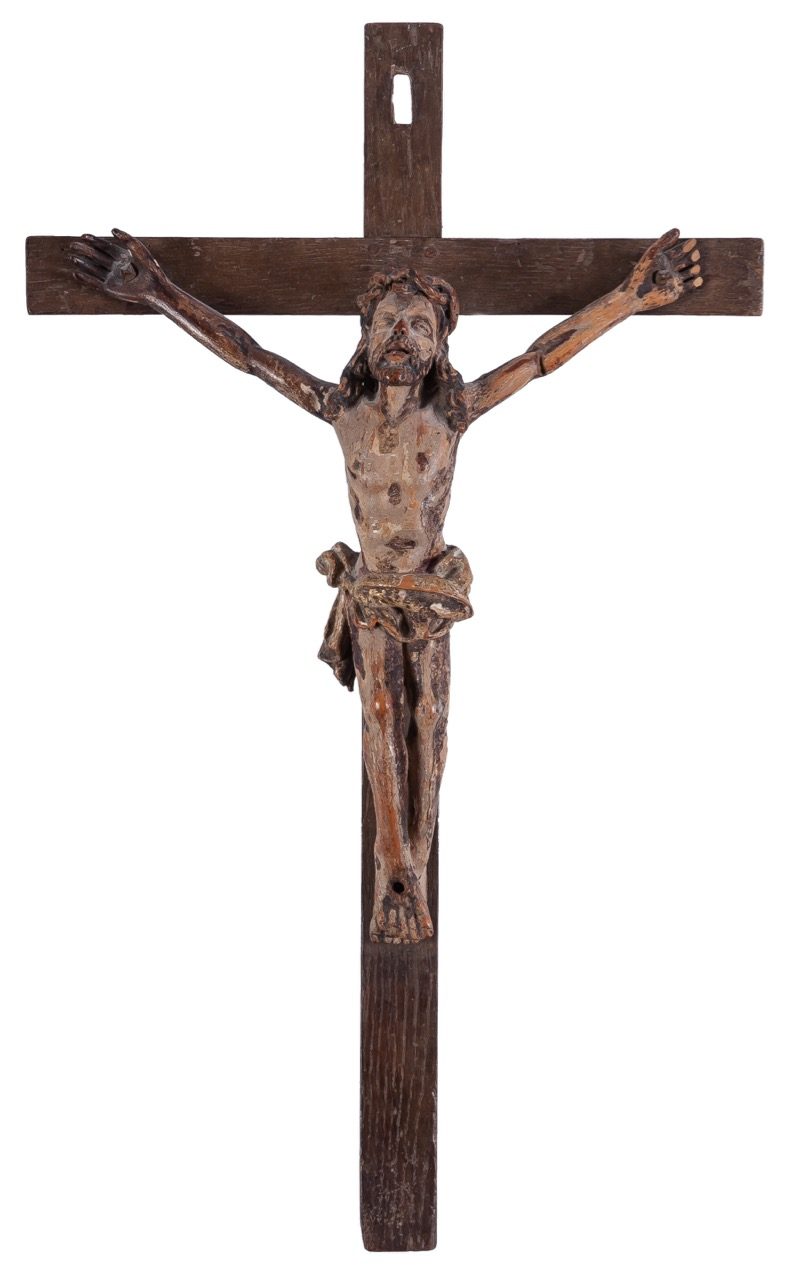"A carved polychrome-decorated wooden ""Christ"", 19th Century