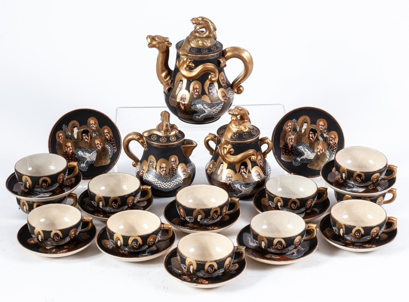 A Japanese Satsuma porcelain coffee service for twelve, 20th Century