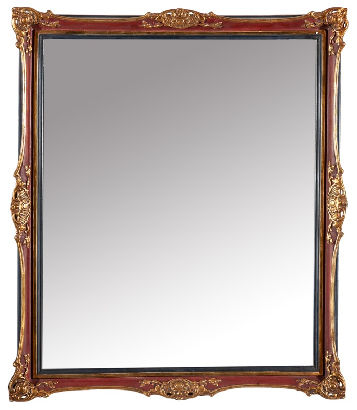 A Spanish carved, gilded and painted wooden mirror, Isabella II of Spain period, 19th Century