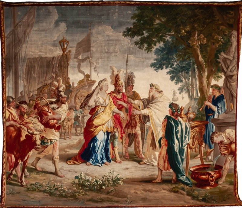 "A Flemish silk and wool tapestry ""Odysseus return Chryseis to her Father Chryses"", Brussels, Workshop of Peter Van Borcht (1745 - 1763). Signed.