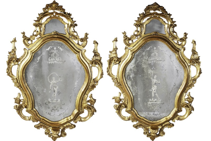 A pair of Italian carved giltwood and engraved mirrors, Venice in the manner of 18th Century