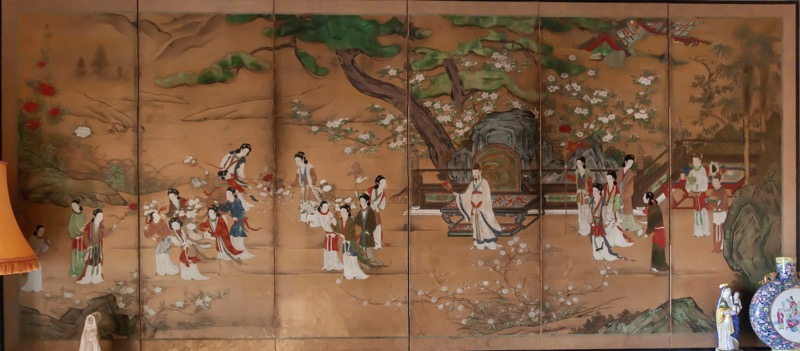 A Japanese painted paper six-panel screen depticting a courtly scene, Edo period, Late 18th Century