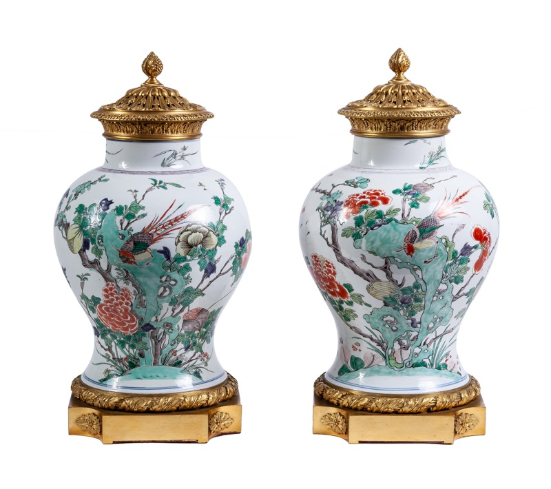 "A pairs of Louis XVI style ormolu-mounted Chinese ""Famille verte"" porcelain vases, 18th - 19th Century