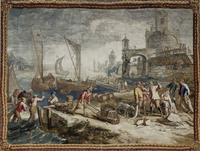 "A Flemish silk and wool ""Teniers"" tapestry ""Port scene"" Manufactory of Brussels, Daniel III Leyniers (1745 - 1768). Signed