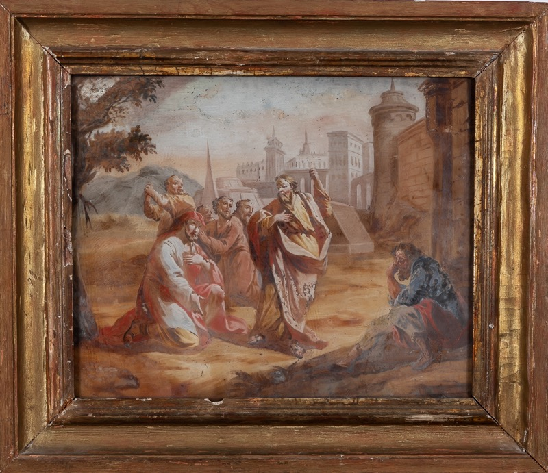 "An Italian reverse glass painting ""Christ and the apostles"" 18th Century