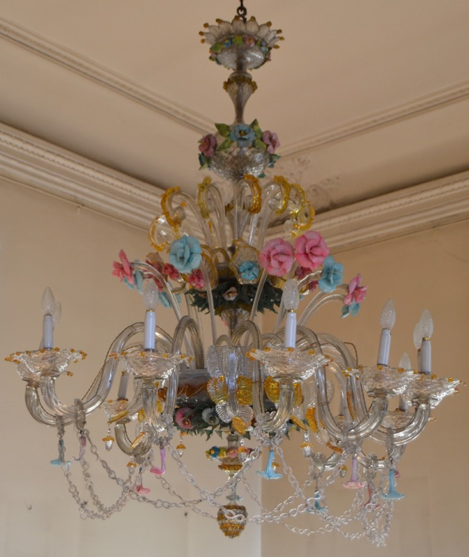 A large blown, cut and coloured Venetian glass chandelier, 19th Century. Minor faults