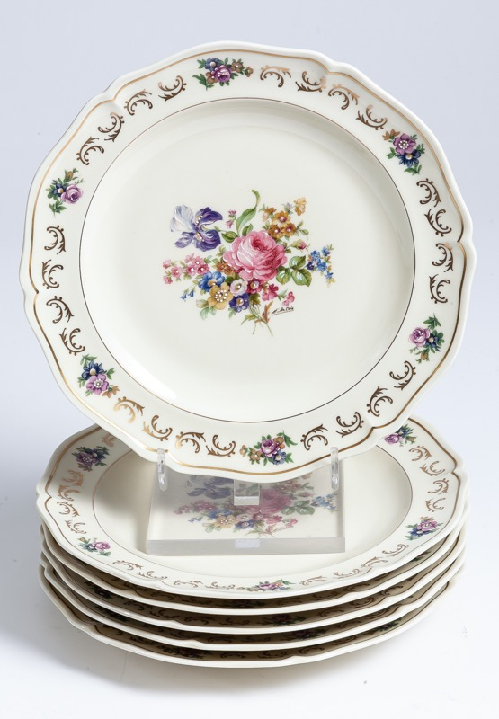 A set of six Royal Limoges polychrome-decorated plates with floral