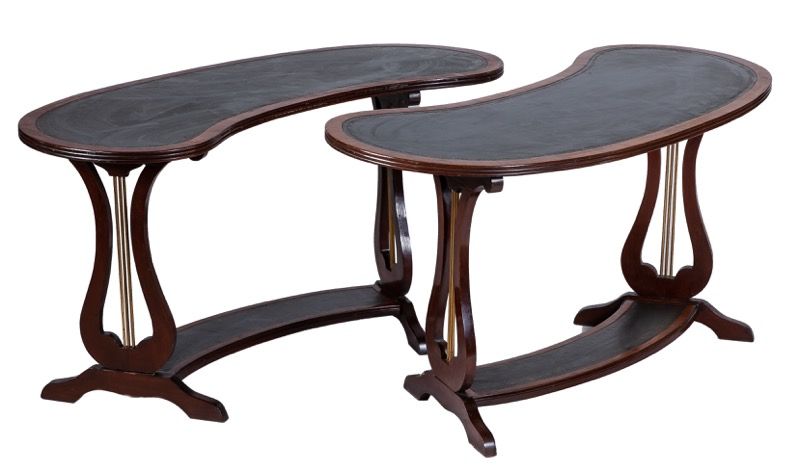 A pair of kidney-shaped writing tables