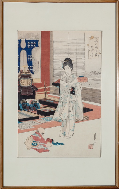 "A Japanese engraving of a ""Lady in a interior"", 19th - 20th Century