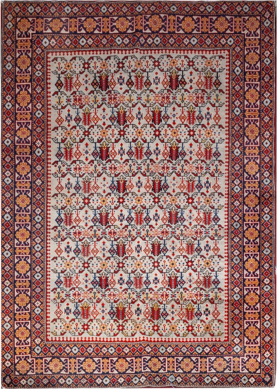 A woolen rug with geometrical pattern