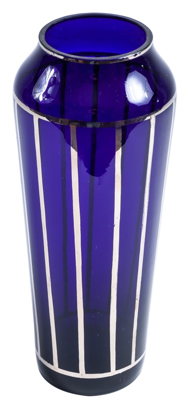 An Art Deco blue glass vase decorated with silver lines 