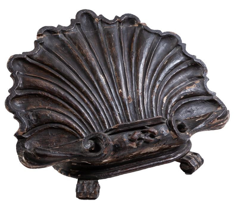 A shell-shaped carved painted wooden table lectern, 18th Century