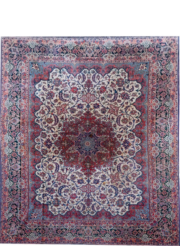 A Persian Isfahan wool carpet with stylized vegetal motif