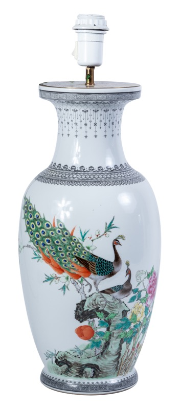A Chinese-like porcelain vase converted to form a lamp