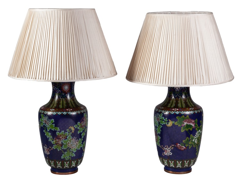 A pair of Chinese cloisonné enamel vases converted to form table lamps