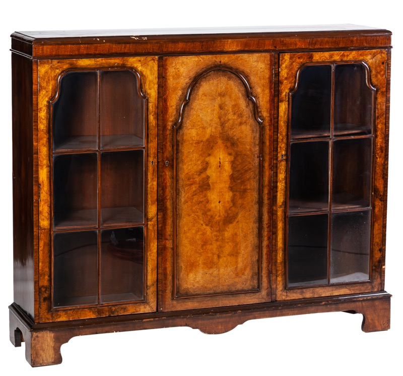 A Georgian style walnut display cabinet