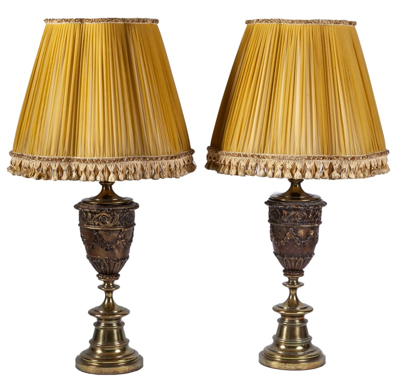 A pair of urn-shaped gilt brass and wood table lamps