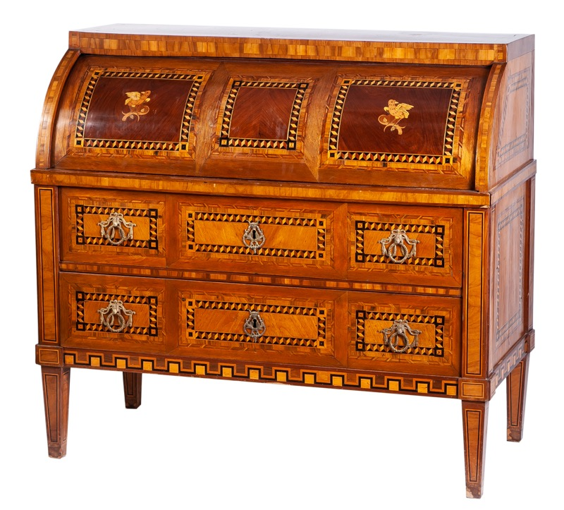 A Spanish Charles IV mahogany and marquetry cylinder bureau with drawers inlaid with birds and geometrical motifs, late 18th Century. Damages