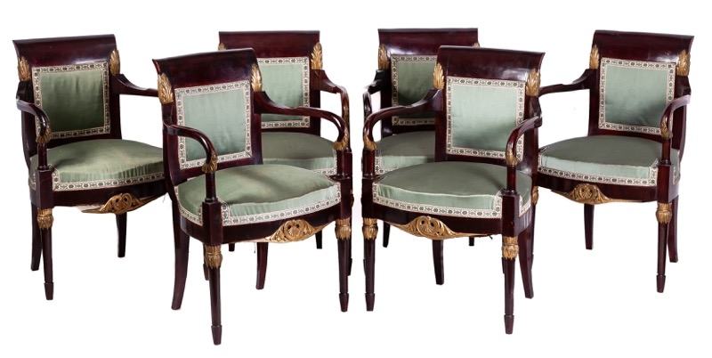 A set of six Spanish mahogany armchairs and four chairs, 19th Century. Royal Joinery Workshop, Madrid