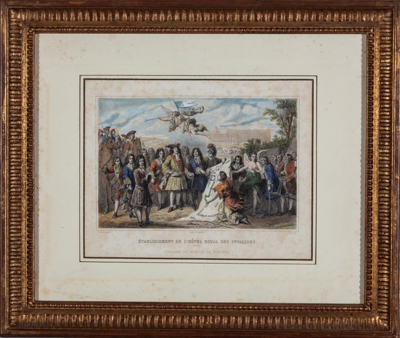 Two French coloured engravings with historical scenes