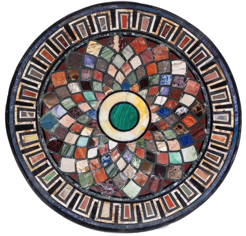 "A circular ""pietra dura"" marble table top in the Neoclassical style