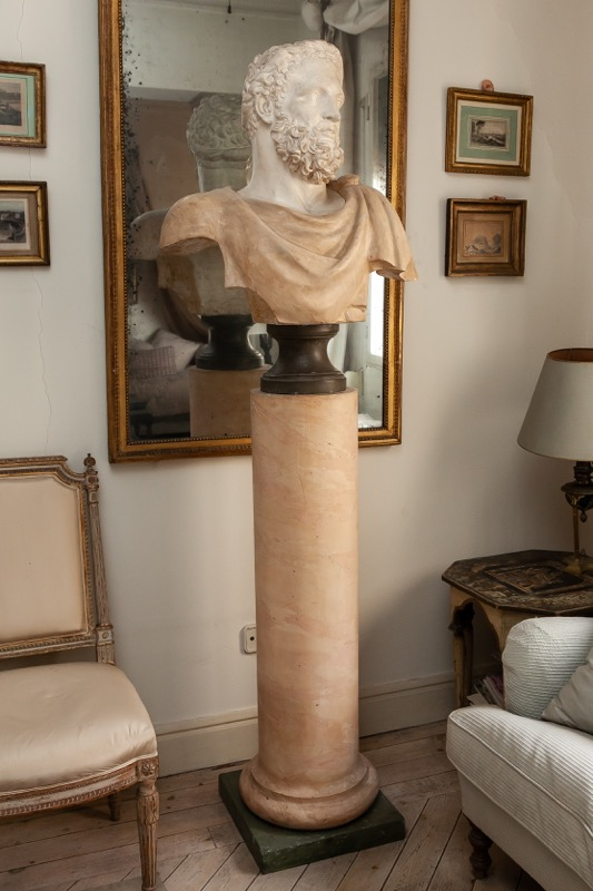 A polychrome painted plaster bust of Emperor Hadrian on a column-shaped pedestal, 19th Century