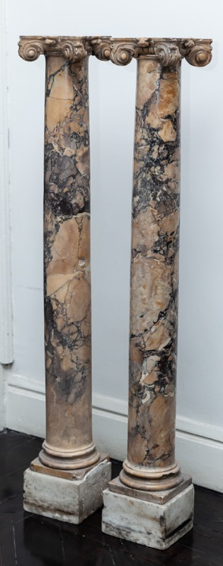 A pair of Italian marble columns, 19th Century